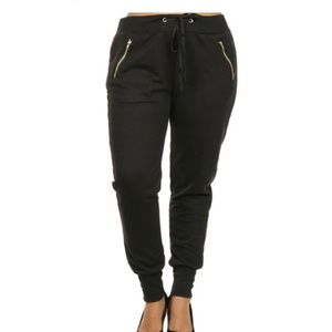 NWT 2X Black Cotton Joggers with Zipper detail